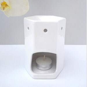 white hexagonal tea light burner